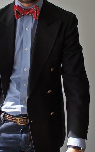 8fb6de96c527 ... Look alla moda per uomo: Blazer doppiopetto nero, Camicia elegante in chambray  azzurra,