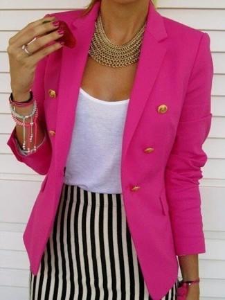 14e60bff5ff7 Look alla moda per donna  Blazer doppiopetto fucsia