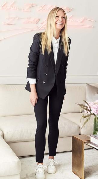 Blazer doppiopetto nero camicia elegante bianca pantaloni skinny neri large 27207