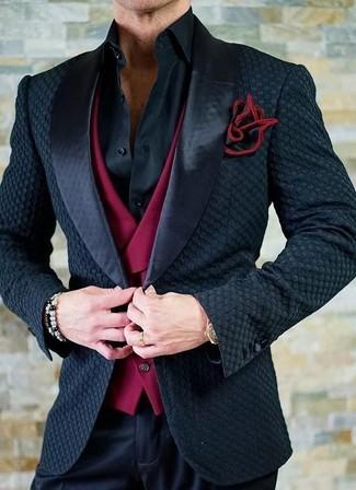 uk availability a4434 8d31f Look alla moda per uomo: Blazer di raso nero, Gilet rosso ...