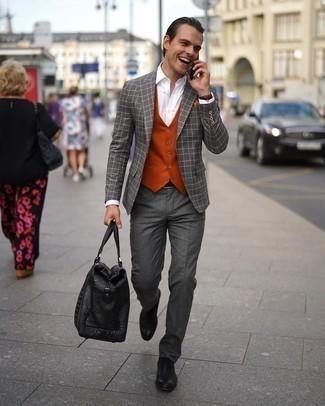 Come indossare e abbinare un orologio in pelle bordeaux: Scegli un outfit composto da un blazer a quadri grigio e un orologio in pelle bordeaux per un look perfetto per il weekend. Scarpe oxford in pelle nere daranno lucentezza a un look discreto.