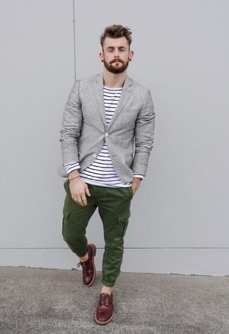 Look alla moda per uomo  Blazer di lino grigio dea950e90c5