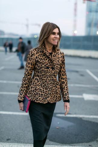 new style 52dcc 1c596 Look alla moda per donna: Blazer leopardato marrone chiaro ...