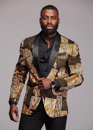 Come indossare e abbinare: blazer stampato nero e dorato, camicia elegante nera, pantaloni eleganti neri, orologio dorato