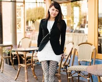 Blazer nero tunica a pois bianca leggings stampati neri e bianchi large 2364