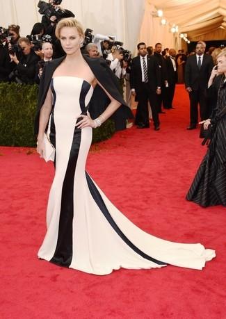 Blazer nero vestito da sera a righe verticali bianco e nero pochette di raso bianca large 2265