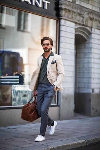 BeigePolo Blu Per Eleganti Moda Look ScuroPantaloni UomoBlazer Alla Grigio XPOuZki