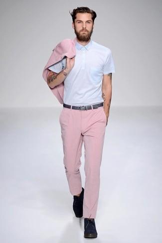 Pantalone Blu Abbinamenti Polo Rosa Uomo JT1c3u5FlK