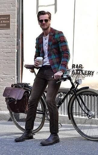 Come indossare e abbinare un zaino in pelle bordeaux: Prova ad abbinare un blazer scozzese multicolore con uno zaino in pelle bordeaux per un'atmosfera casual-cool. Sfodera il gusto per le calzature di lusso e opta per un paio di stivali chelsea in pelle marrone scuro.