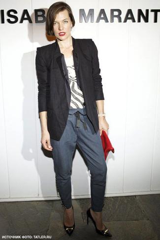Blazer t shirt a girocollo pantaloni skinny large 6137