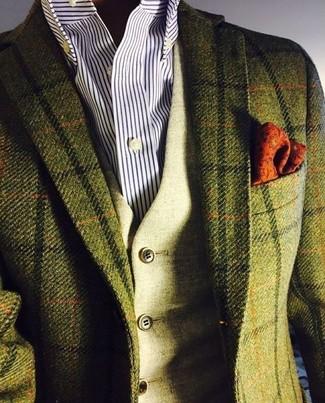 Look alla moda per uomo: Blazer di lana a quadri verde oliva, Gilet di lana verde oliva, Camicia elegante a righe verticali bianca e blu scuro, Fazzoletto da taschino stampato arancione