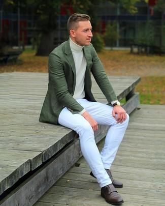 Moda Verde Alla Scuro Uomo Dolcevita Blazer Beige Per Look Jeans vq5wSOq