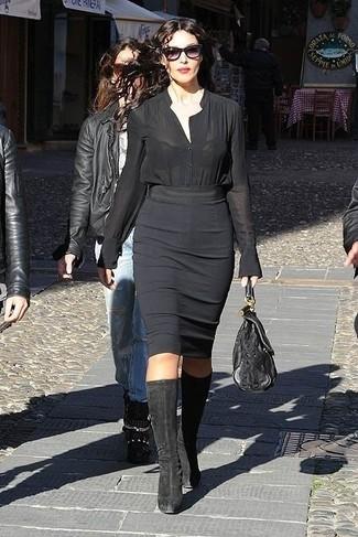 Blusa abbottonata nera gonna a tubino nera stivali al ginocchio neri large 13810