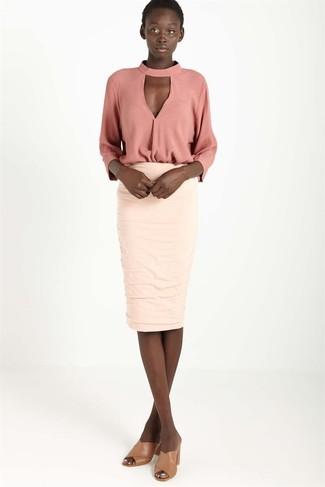 new styles 1291f 1a639 Look alla moda per donna: Camicetta manica lunga rosa, Gonna ...
