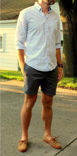 232c8ac6f6 Look alla moda per uomo: Camicia a maniche lunghe a quadretti bianca ...