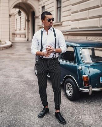 Come indossare e abbinare un orologio argento: Opta per una camicia a maniche lunghe bianca e un orologio argento per un'atmosfera casual-cool. Indossa un paio di scarpe brogue in pelle nere per un tocco virile.