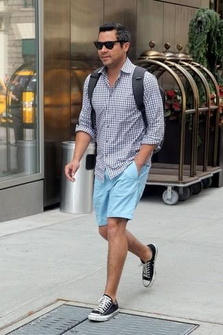2e2fda91e5 Look alla moda per uomo: Camicia a maniche lunghe a quadretti grigia ...