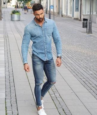 info for 3ec3e 70882 Look alla moda per uomo: Camicia di jeans azzurra, Jeans ...