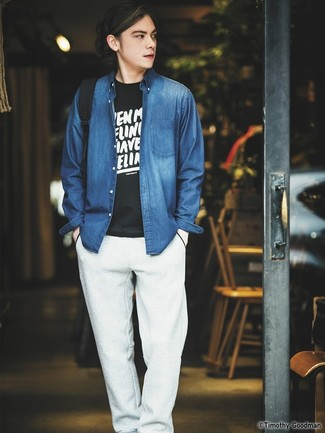 da7d85a32c53 ... Look alla moda per uomo  Camicia di jeans blu