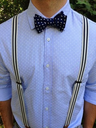 c041795d564a2f ... Look alla moda per uomo: Camicia elegante a pois azzurra, Papillon a pois  blu