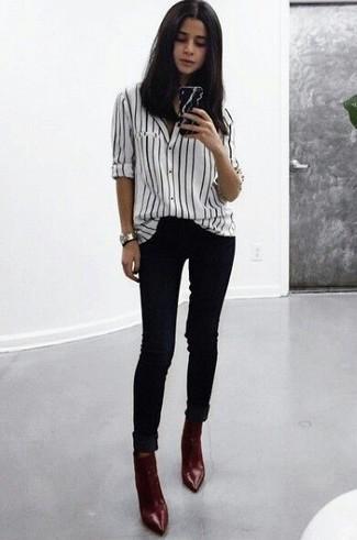 Camicia elegante a righe verticali bianca e nera di Libertine-Libertine c91dc484dad