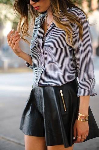 Camicia elegante a righe verticali nera e bianca di Marc Jacobs ... 4909c3d9f44