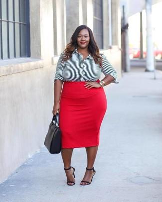 ... Look alla moda per donna  Camicia elegante a righe verticali bianca e  nera 695785616e8