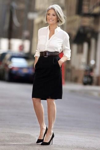 taglia 40 1a8b2 af3aa Quale camicia elegante indossare con una gonna a tubino nera ...
