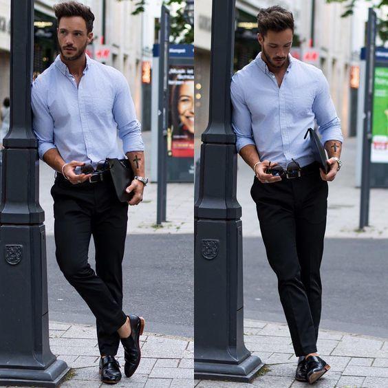 Moda Foto Una Camicia Quale Pantaloni Azzurra Con Indossare 1013 wnSHqA8a