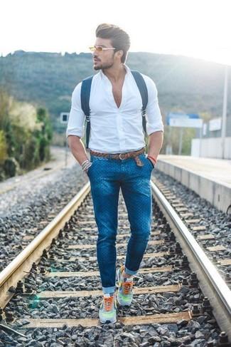 Jeans Bianca Look Uomo Moda A Camicia Per Elegante Aderenti Alla nqAA06fYF