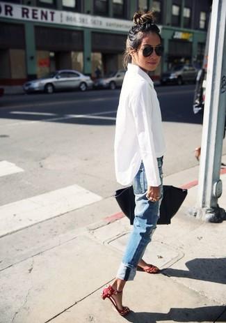 de Look elegantejeans moda azules para blanca mujerescamisa 6YgvIfyb7