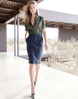reputable site e366c cb800 Look alla moda per donna: Camicia elegante verde oliva ...
