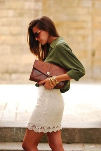 Look Alla Moda Per Donna Camicia Elegante Verde Oliva Minigonna