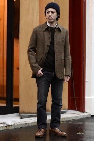 Come indossare e abbinare una berretto blu scuro: Potresti indossare una camicia giacca di lana scozzese marrone e una berretto blu scuro per un look comfy-casual. Mettiti un paio di scarpe derby in pelle marroni per un tocco virile.