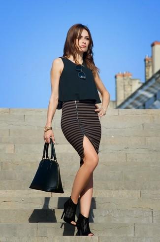 Sandali con tacco in pelle scamosciata neri di New Look Wide Fit
