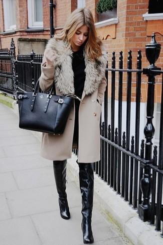 finest selection 83b02 4863d Look alla moda per donna: Cappotto con collo di pelliccia ...