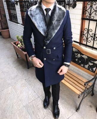 Come indossare un cappotto con collo di pelliccia blu scuro (9 foto ... e9b32cc9435