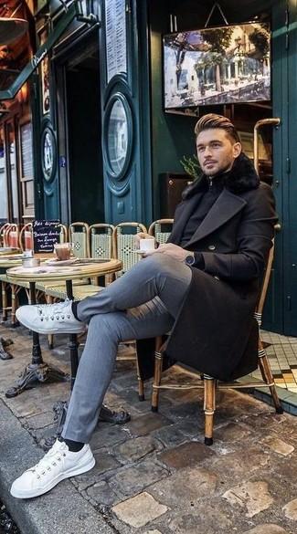 Come indossare  cappotto con collo di pelliccia nero bd0ec528645