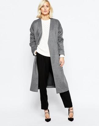 Quale pantaloni eleganti indossare con un cappotto grigio (13 foto ... 8e9ba9d8946