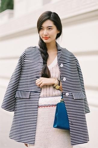 Look Alla Moda Per Donna Cappotto A Righe Orizzontali Blu Scuro E