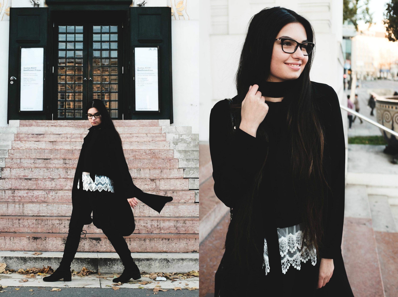d6a3687062 Look alla moda per donna: Cappotto nero, Maglione corto nero, Top ...