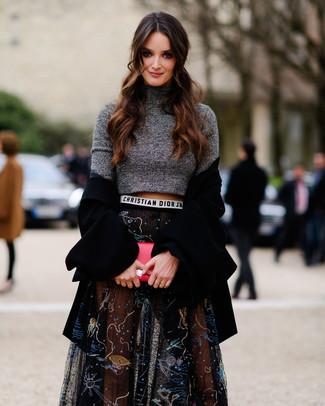 ... Look alla moda per donna  Cappotto nero 024c96c8795