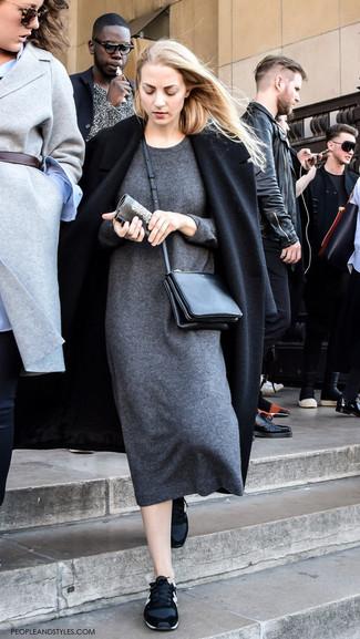 Look alla moda per donna: Cappotto nero, Vestito di maglia