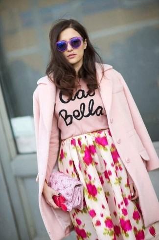 wholesale dealer aaafd c3af9 Look alla moda per donna: Cappotto rosa, Maglione girocollo ...