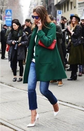 Look alla moda per donna  Cappotto verde scuro d315462caed