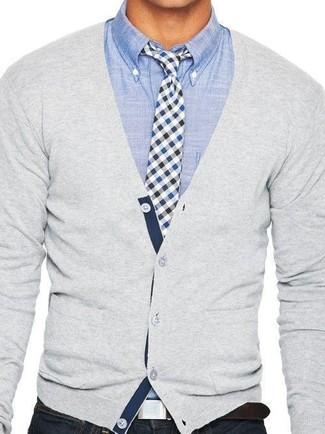 2f41adb23c Look alla moda per uomo: Cardigan grigio, Camicia a maniche lunghe ...