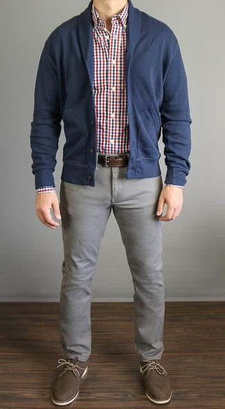 1a982b71f4 Look alla moda per uomo: Cardigan con collo a scialle blu scuro ...