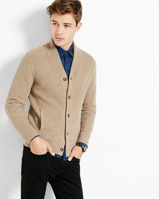 fbd8ce1f3b1 Look alla moda per uomo: Cardigan lavorato a maglia marrone chiaro ...