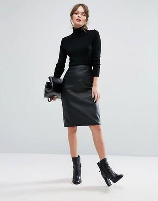 separation shoes 0c5e3 7a606 Look alla moda per donna: Dolcevita nero, Gonna a tubino in ...