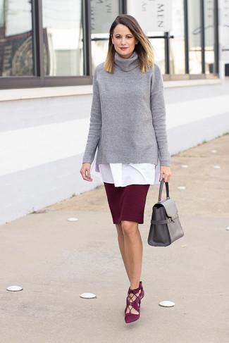 sale retailer 61d79 be410 Look alla moda per donna: Dolcevita lavorato a maglia grigio ...